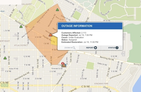 power outage pepco map